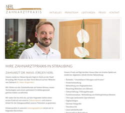 Screenshot Website Zahnarztpraxis Dr. Hans-Jürgen Nerl in Straubing