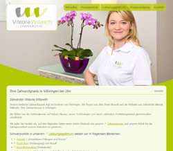 Screenshot Website Zahnärztin Viktoria Willareth in Vöhringen bei Ulm