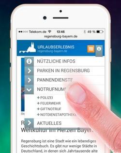 Entwurf mobile Website Regensburg-Bayern.de
